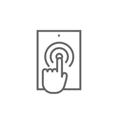 Finger touching digital tablet line icon vector