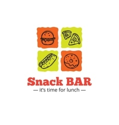 Trendy snack bar logo in doodle style vector