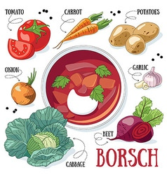 Borsch cooking vector