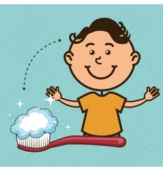 Boy with toothbrush isolated icon design vector
