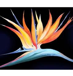 Birds-of-paradise acrylic painting verson vector