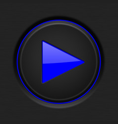 black play button with blue backlight vector image vector image