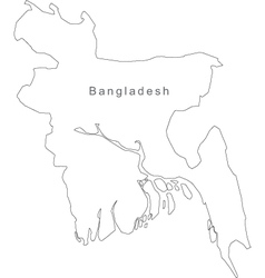 Black White Bangladesh Outline Map vector image