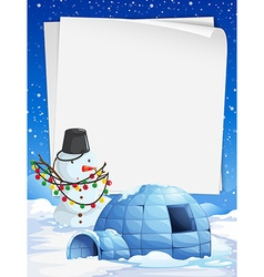 Blank paper with Christmas theme background vector image