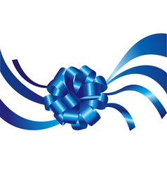 Blue ribbon and bow vector image