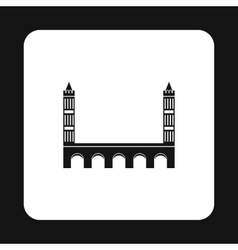 Bridge with towers icon simple style vector