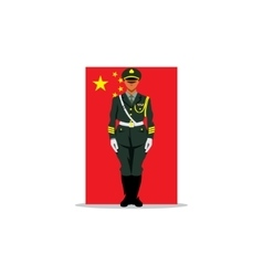 Chinese guard sign soldier stands in front vector