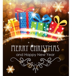 Christmas presents on abstract holiday background vector