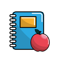 Color notebook and apple icon vector