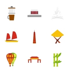 Country Vietnam icons set flat style vector image