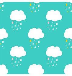 Cute sky with rainy clouds seamless pattern vector