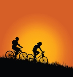 Cyclists in nature color vector