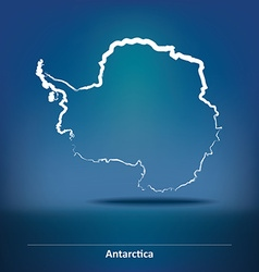 Doodle map of antarctica vector
