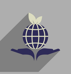 Flat web icon with long shadow earth hands vector