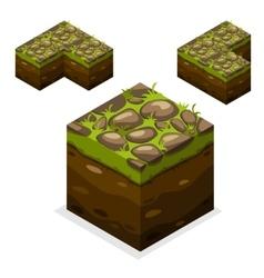 Game block isometric cubes nature unending land vector