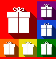 gift sign set of icons with flat shadows vector image
