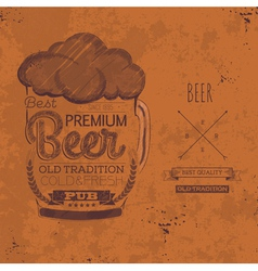 Hand drawn grunge beer background vector image vector image