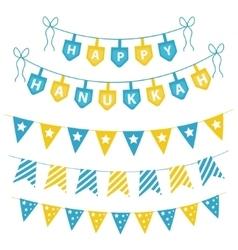 Hanukkah set garlands ribbons hanukkah set for a vector