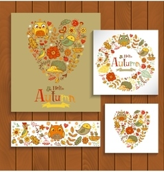 Hello autumn banner set in doodle style vector