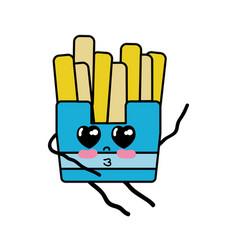 Kawaii cute tender fries french food vector