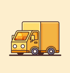 Modern yellow delivery truck icon vector