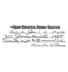 Personal check vintage vector