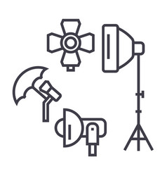 photo studio lighting equipment line icon vector image