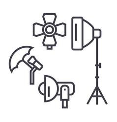 photo studio lighting equipment line icon vector image vector image