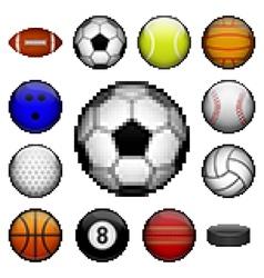 Pixel sports balls vector image vector image
