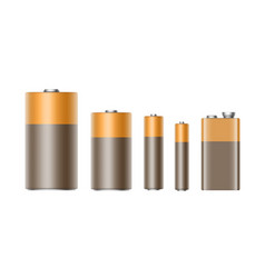 set of alkaline batteries of diffrent size vector image