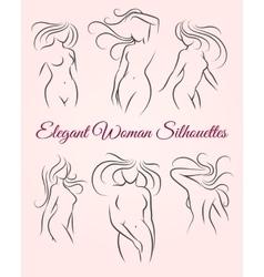 Six elegant woman silhouettes vector