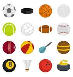 sport balls icons set in flat style vector image vector image