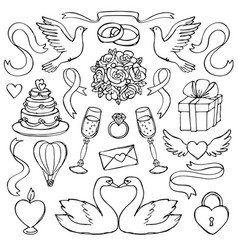 Wedding hand drawn set vector