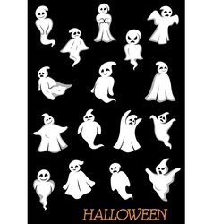 White halloween ghosts and ghouls vector