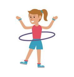 woman with hula hoop cartoon vector image
