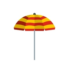 Yellow and red beach umbrella icon flat style vector