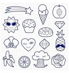 Fashion patches set on squared paper vector