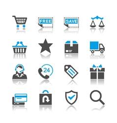 E-commerce icons reflection vector image