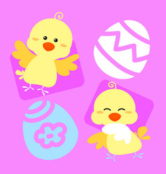 Cute easter chicks vector