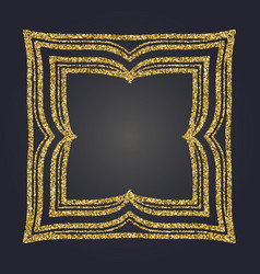 Art nouveau gold glitter decorative rectangle vector