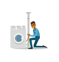 Proffesional plumber man character installing vector