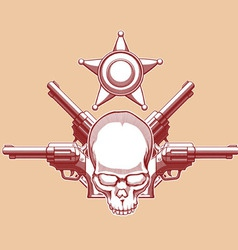 Vintage wild west skull revolver sheriff badge vector