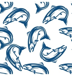Salmon fish seamless pattern vector