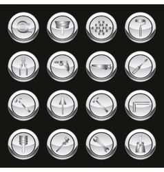 Metallic tools icons vector image