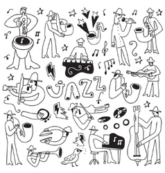 Jazz musicians -doodles set vector