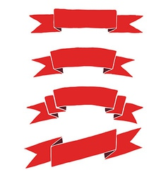 Red ribbon hand drawing vector