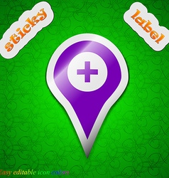 Plus map pointer gps location icon sign symbol vector