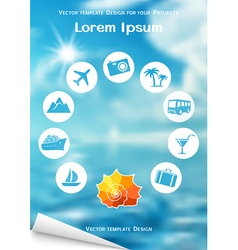 Flyer design with sea shell and travel icons vector image