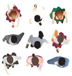 People standing top view set 9 vector