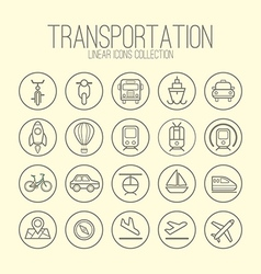 Transportation linear icons collection vector